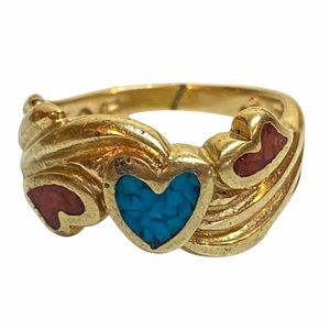 Gold toned Inlaid Red Blue Stone Sz 4 Ring